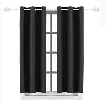 Black Room Darkening Curtains.Milly Roy Blackout Curtains Grommet Thermal Insulated Room Darkening Curtains For Living Room 42 X 63 Inch Black Set Of 2 Curtain Panels