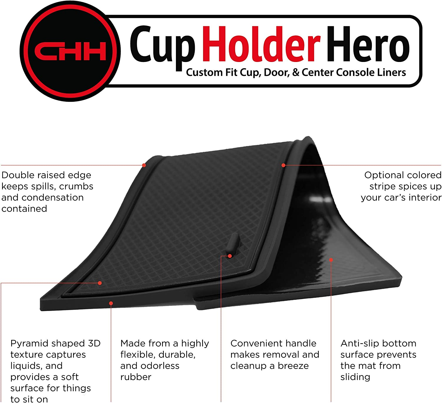 Door Red Trim and Center Console Liner Accessories 9-pc Set CupHolderHero for Chevy Camaro 2016-2020 Custom Fit Cup Holder