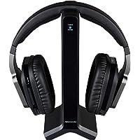 MEDION E69288 Over-Ear Funkkopfhörer mit Ladestation, 2,4 GHz Übertragung, 20m Reichweite, 3,5 mm Klinke, schwarz