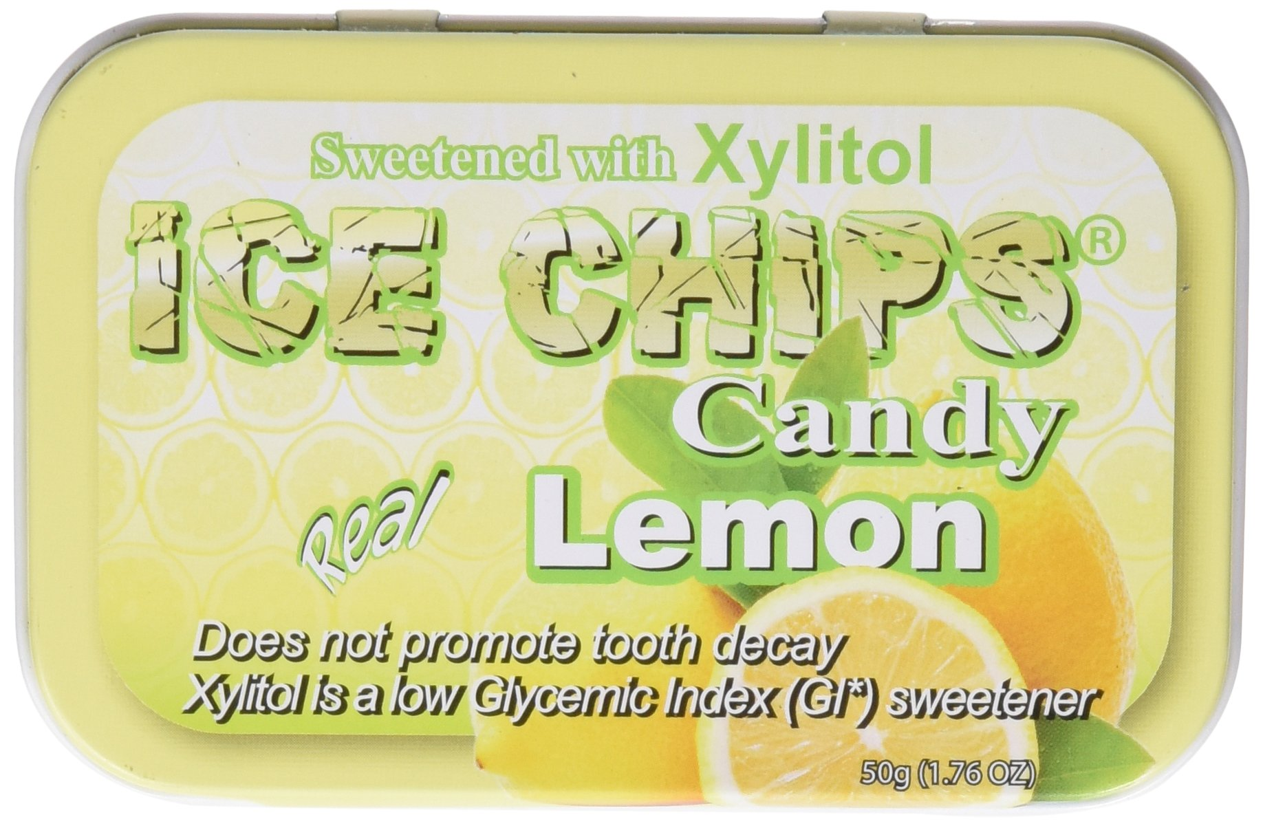 ICE CHIPS Xylitol Candy 6 Tins Lemon