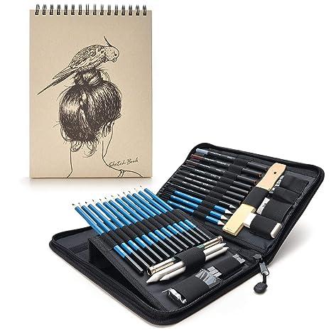AGPtek 41pzas Set de Dibujo para Hacer Bocetos, Estuche de Lápices Gráfito con Cuaderno de Bocetos(60 Hojas), Incluye Tizas Borradores etc, Perfecto ...