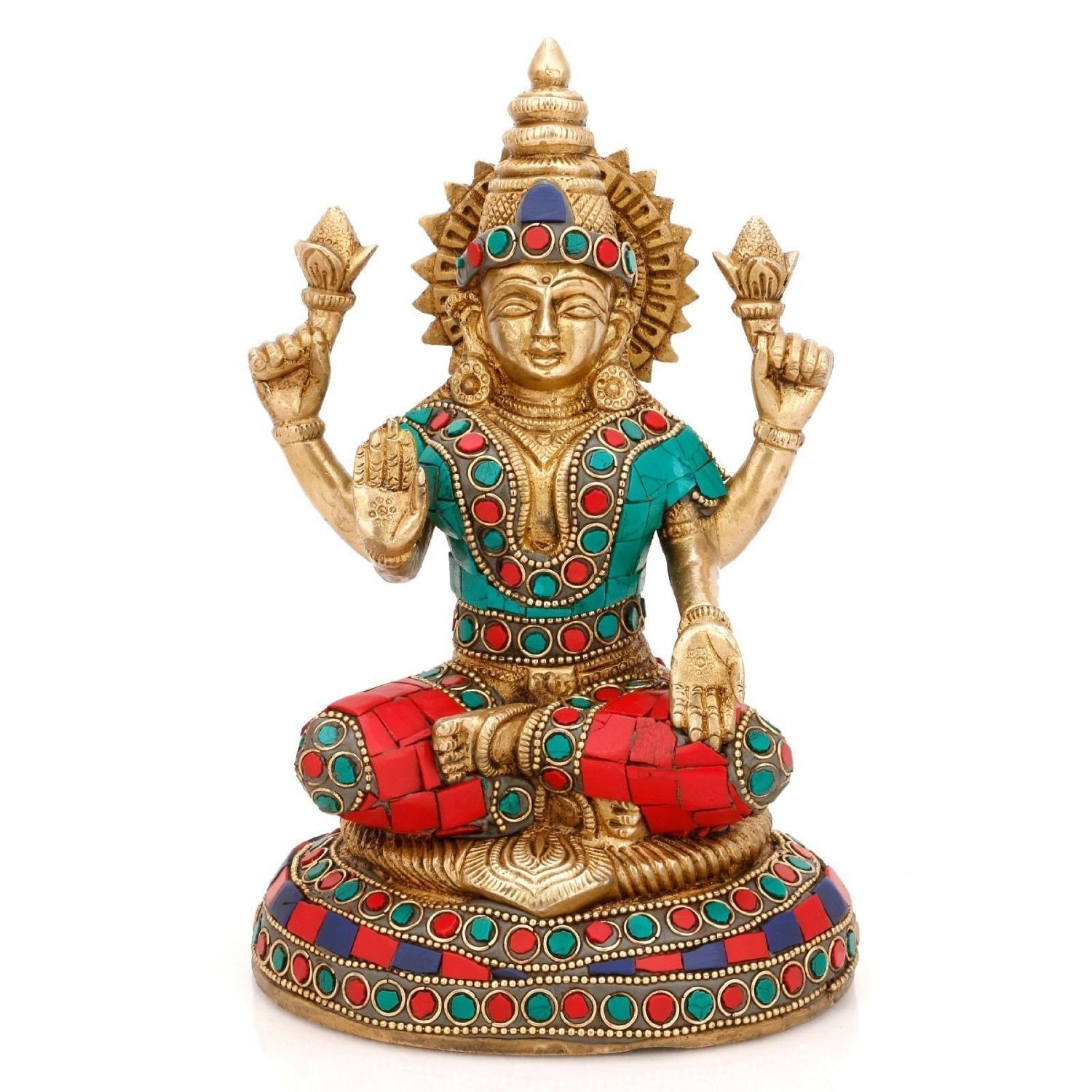 Aone India Lakshmi Laxmi Hindu Goddess Brass Statue- Good Fortune, Wealth and Prosperity - Symbol of Beauty, Love and Grace + Cash Envelope (Pack of 10)