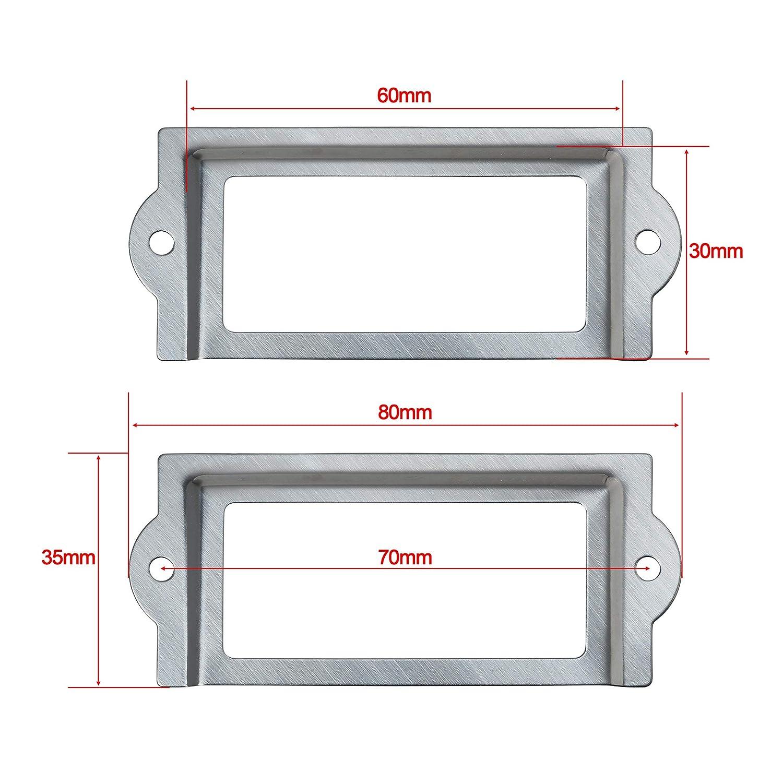 Bcp 20PCS 80/x 35/mm color argento metallo Office file armadio mensole cassetto nome della porta etichetta cornici con viti 80 x 35mm Silver Color