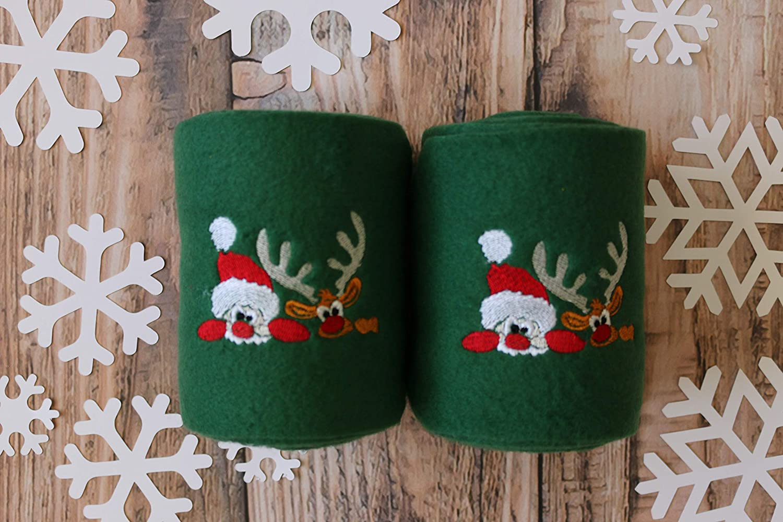 Set of 4 Hunter Green Embroidered Santa and Reindeer Holiday Themed Christmas Polo Wraps Polo Wraps//Stable Wraps