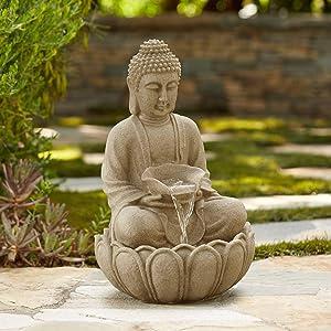 "John Timberland Sitting Buddha 22"" High Zen Fountain with LED Light"