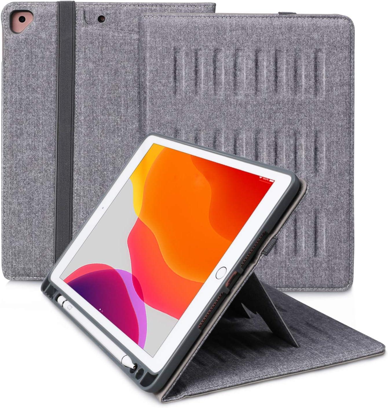 E NET-CASE iPad 10.2 Case,2020 iPad 8th Generation Case/2019 iPad 7th Generation Case,Multi-Viewing Angles, iPad Air 3 10.5 inch Soft TPU Back Cover with Pencil Holder,Auto Wake/Sleep(Silver-2)
