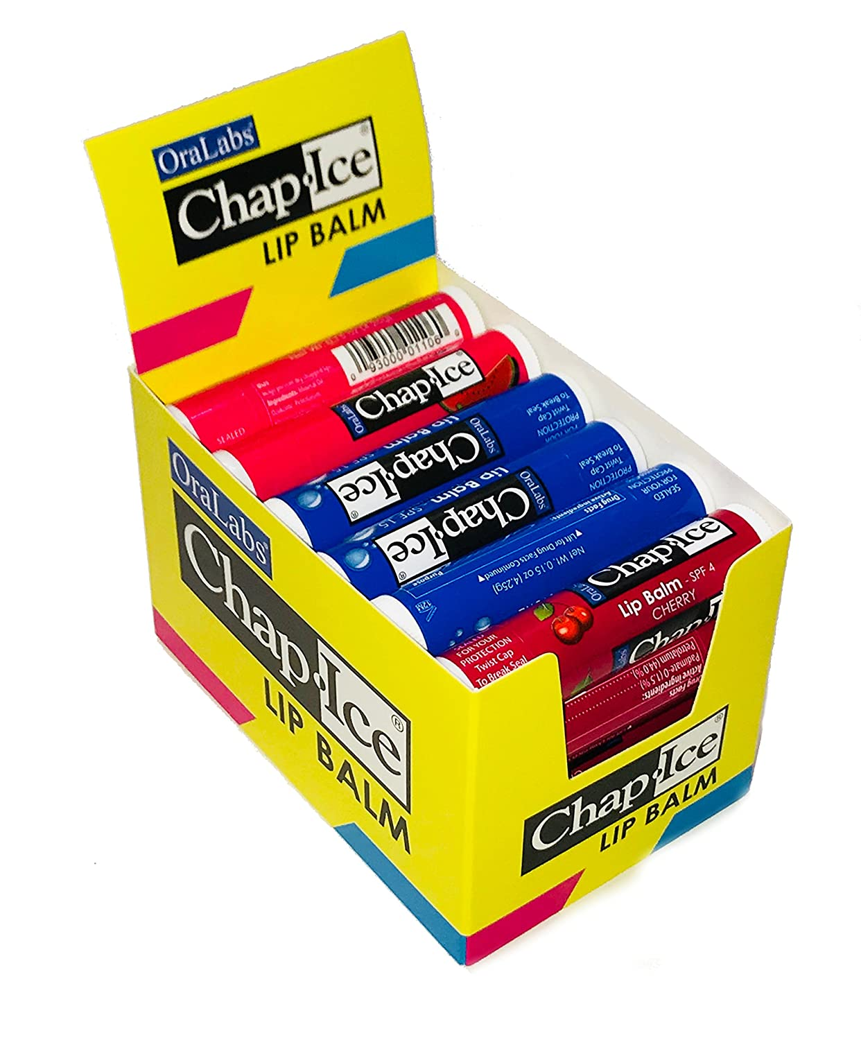 Chap Ice Assorted Lip Balm + Display Box - 24 pack Oralabs