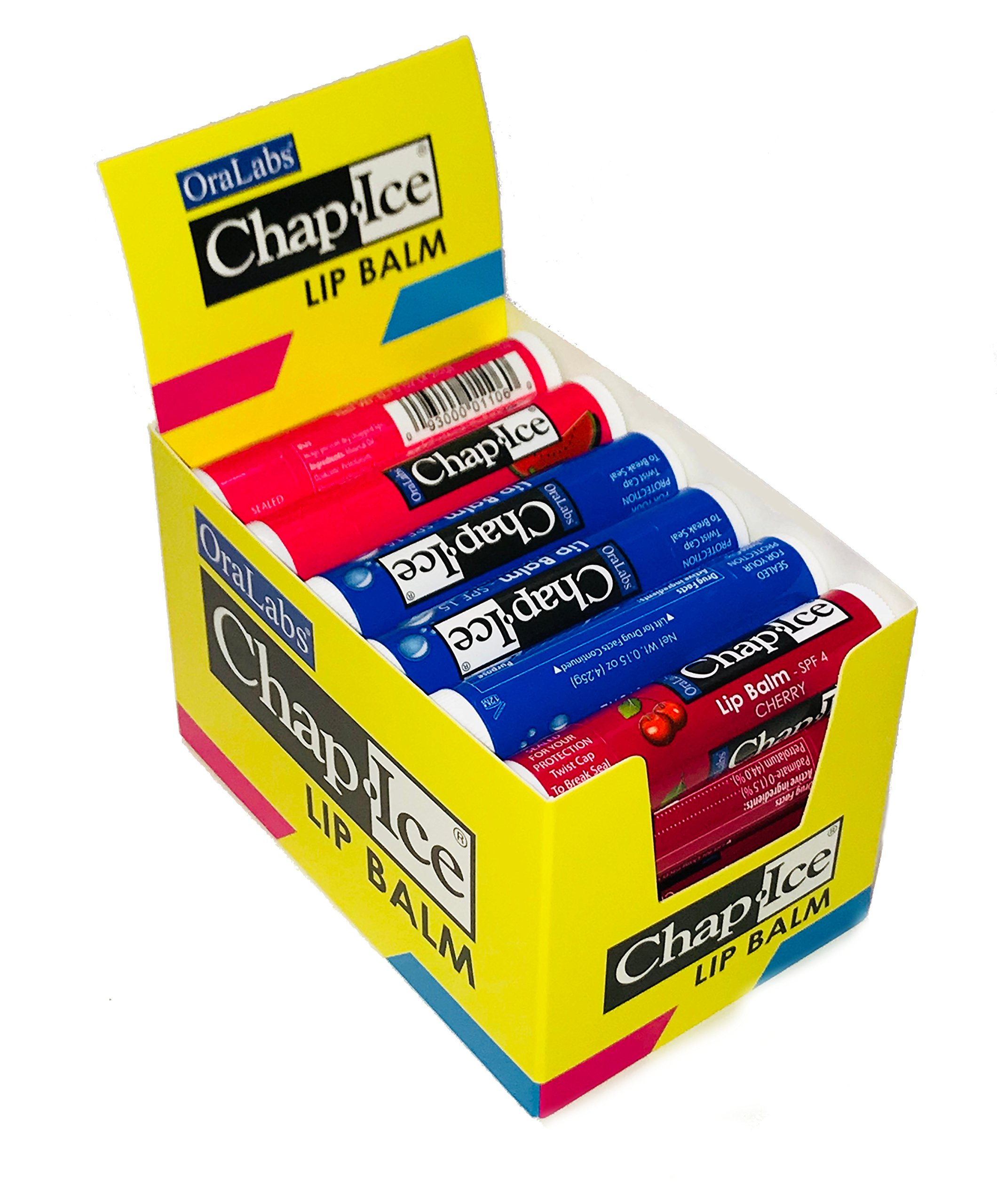 Chap-Ice | Assorted Lip Balm with Display Box - Moisture SPF-15, Cherry-SPF4, Watermelon -24 Count by CHAP-ICE