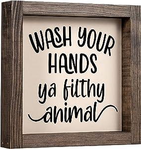 LEADO Wash Your Hands Ya Filthy Animal Sign - Bathroom Signs, Kids Bathroom Decor Signs - Rustic Home Decor, Bathroom Shelf Decor, Modern Farmhouse Bathroom Decor - Housewarming Gifts New Home Decor