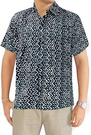 LA LEELA Shirt Camisa Hawaiana Hombre XS - 5XL Manga Corta Delante de Bolsillo Impresión Hawaiana Casual Regular Fit Camisa de Hawaii Azul Marino: Amazon.es: Ropa y accesorios