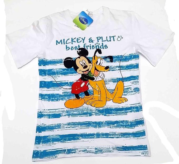 Camiseta Media Manga de algodón niño Disney Mickey y Pluto Blanca ...
