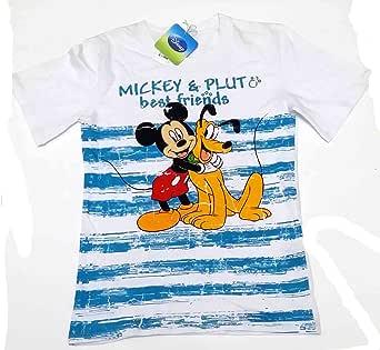 Camiseta Media Manga de algodón niño Disney Mickey y Pluto Blanca 14 años: Amazon.es: Ropa y accesorios