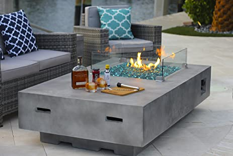 "65"" Rectangular Modern Concrete Fire Pit Table w/ Glass Guard and  Crystals in Gray - 65"