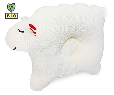 Almohada de bebé que previene la cabeza plana, y para curar plagiocefalia | Hecha enteramente con algodón orgánico. Perfecta para acomodar de forma ...