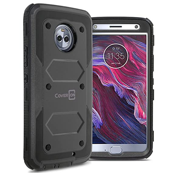 reputable site 49be0 d0b73 Moto X4 Case, CoverON Tank Series Heavy Duty Full Body Protective Phone  Cover for Motorola Moto X4 (2017) - Black
