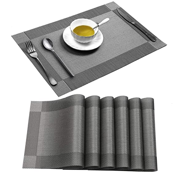 Placemats Set of 6, Table Placemats for Dining Table, Wipeable Placemats Washable Table mats Heat-Resistant (Grey, Brown, Blue)