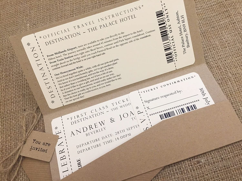 Ticket Pocket\' Vintage/Rustic Style pocket wedding invitation ...