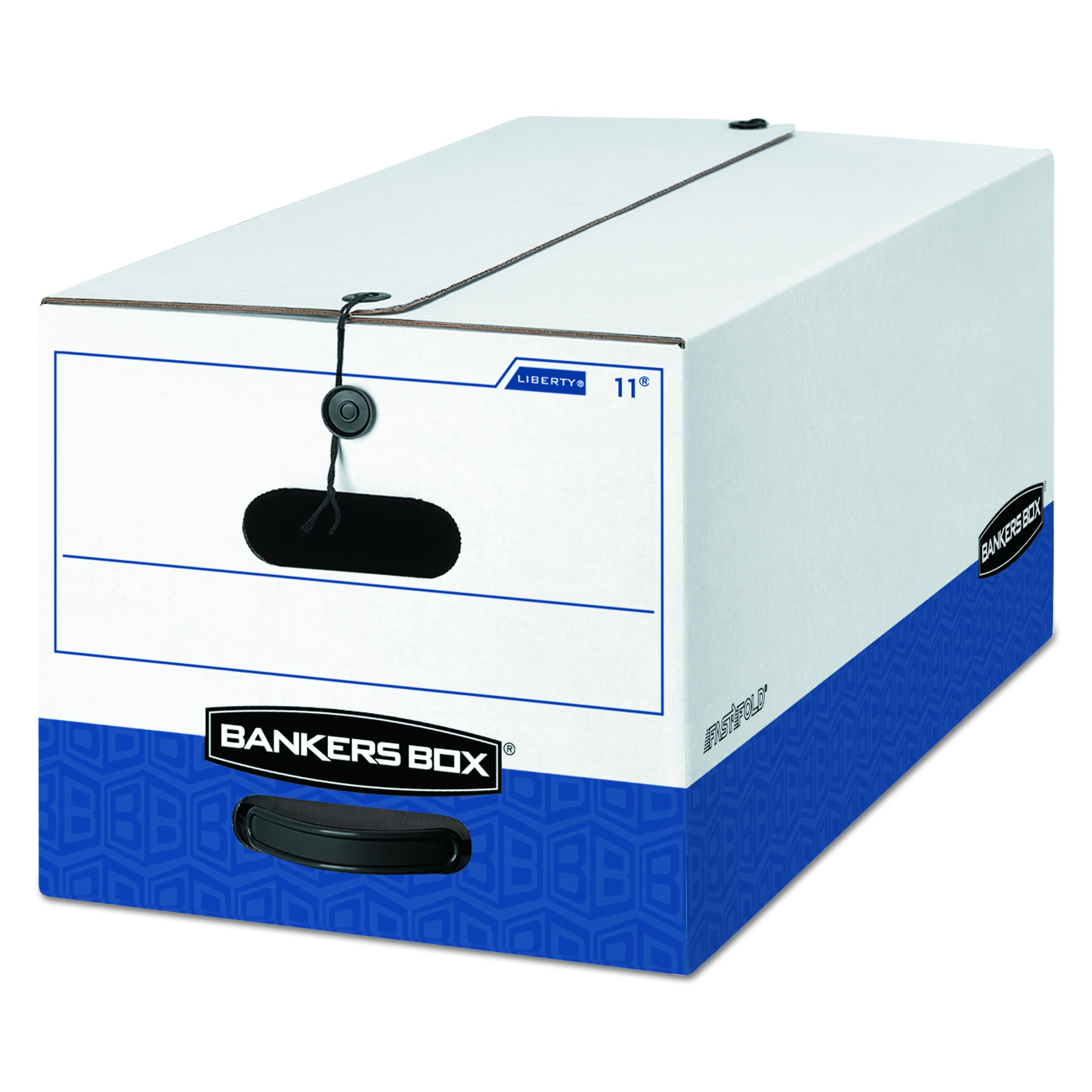 Bankers Box 00011 LIBERTY Heavy-Duty Strength Storage Box, Letter, 12 x 24 x 10, White/Blue (Case of 12)