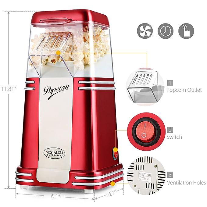 Palomitero Máquina de Palomitas Nostalgia 100% Libre de aceite para hacer popcorn, saludable, Fácil de limpiar, popcorn maker, Rojo