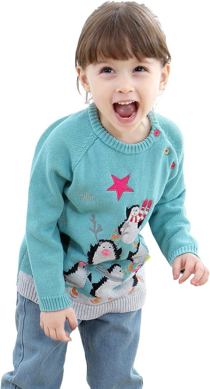 shineflow Children Kids Rudolph Reindeer Red Nose Ugly Christmas Sweater Jumper