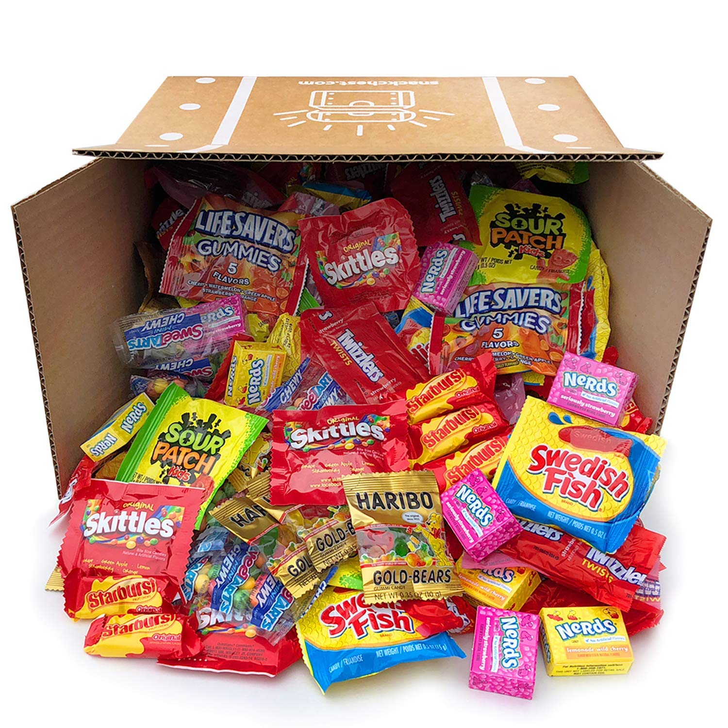 Snack Chest Assorted Candy Party Mix Bulk Twizzlers Nerds Swedish Fish Sour Patch Skittles Starburst and Much More of Your Favorite Candy. Over 200 Individually Wrapped Candy (90 oz) by Snack Chest