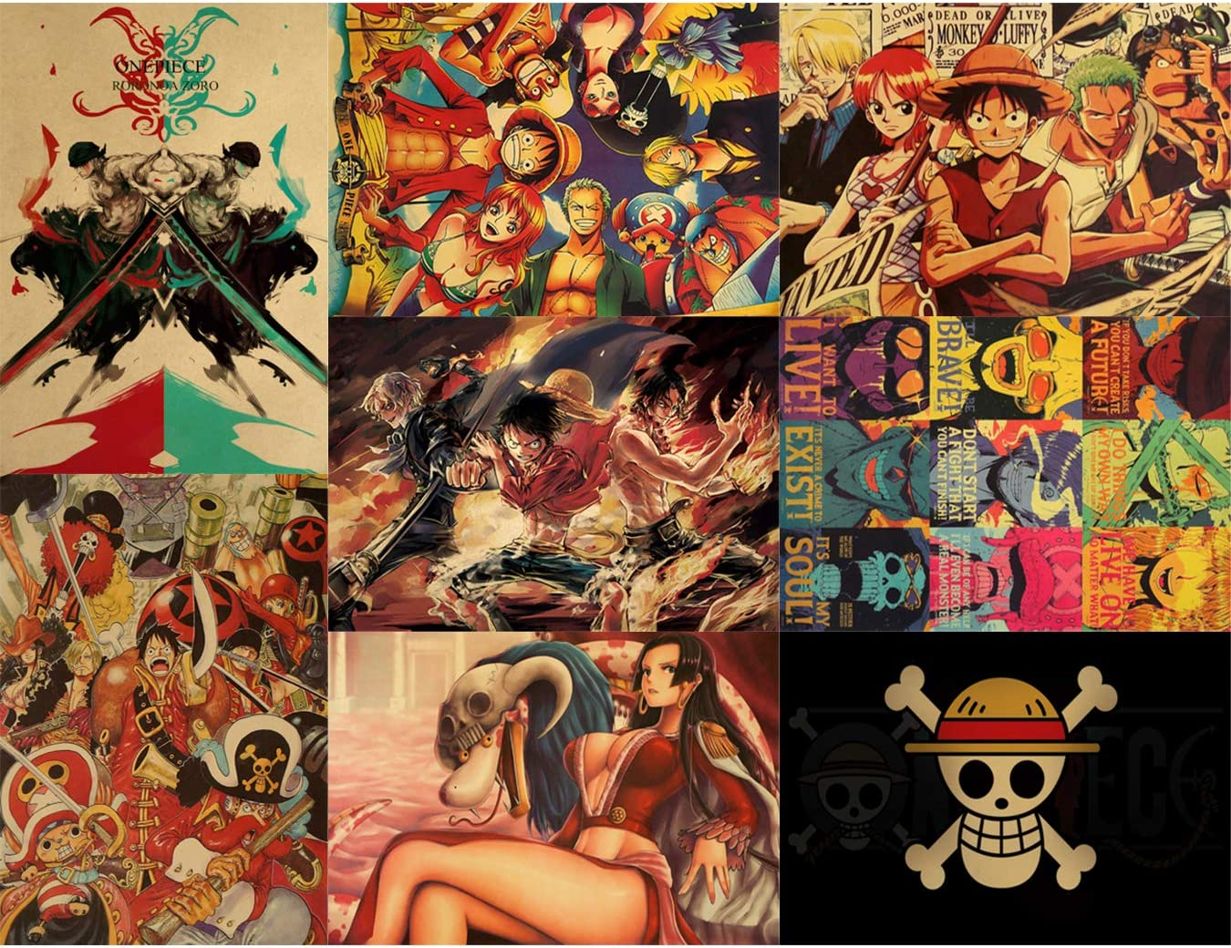 """RINWUNS Poster, One Piece Wall Art Print, Monkey D. Luffy Anime Theme Pictures Decor for Bedroom, Home, Dorms, Office, Gift for Anime Fans, No Frame, Set of 8, 20"""" x 14"""" (OP-03)"""