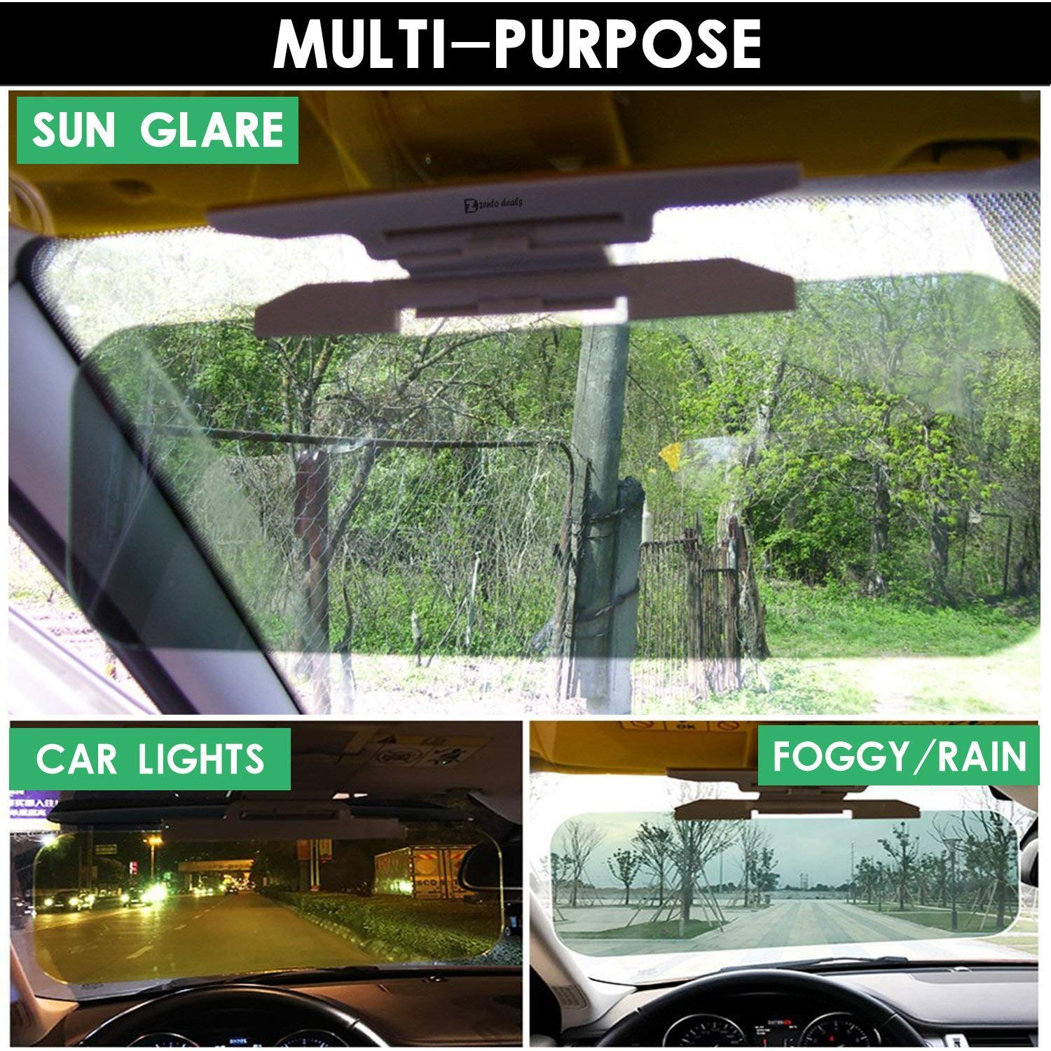 ALIKE Car Sun Visor Anti Glare UV Car Visor 2 in 1 Universal HD Day and Night Car Visor Extender Windshield Driving Visor