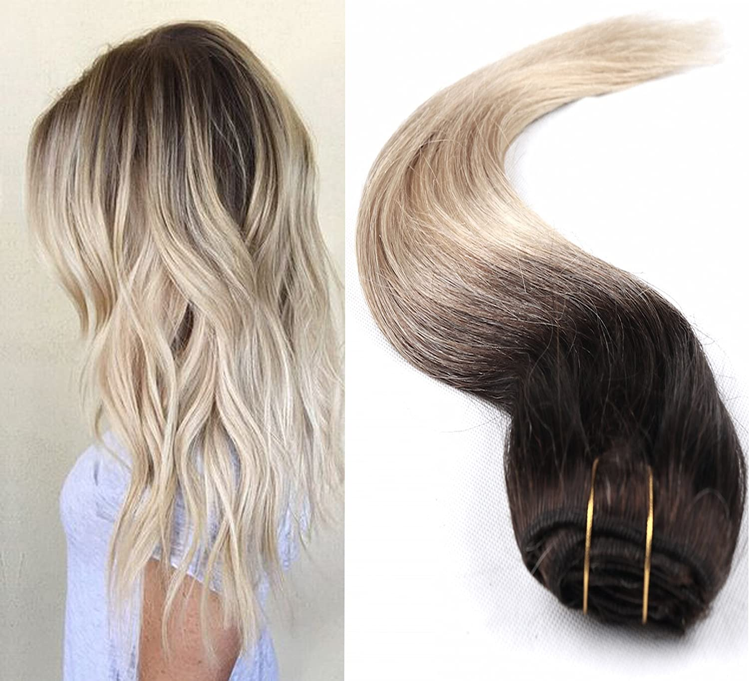 18 Inch Long Full Head Clip in 100% Human Hair extensions Ombre 6 Pcs Straight (Dark brown to bleach blonde) DevaLook