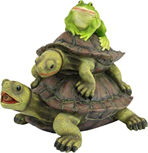 Design Toscano QM2854700 Along for The Ride, Frog and Turtles Spitter Piped Statue, Full Color