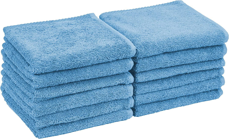 Home and Plan Quick Dry Premium 100% Turkish Cotton Wash Cloths | 12-Piece Set, Multi-Purpose Face & Fingertip Cloths (12x12) - Aqua (S14)