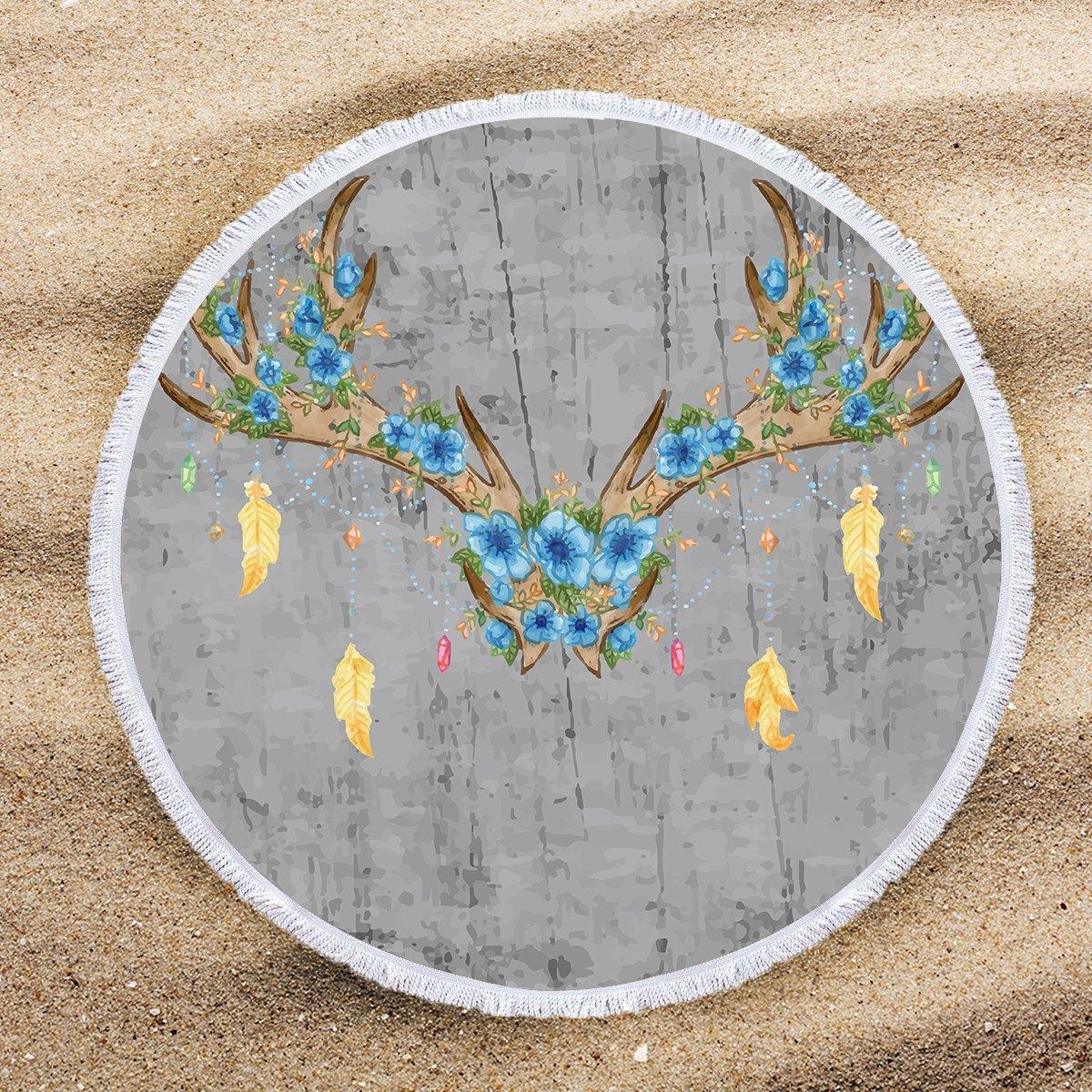 ARIGHTEX Toalla de Playa Vintage Azul Flor Ciervo Boho Grande Redonda Playa Manta con borlas Hippie Tapiz Playa Manta: Amazon.es: Hogar