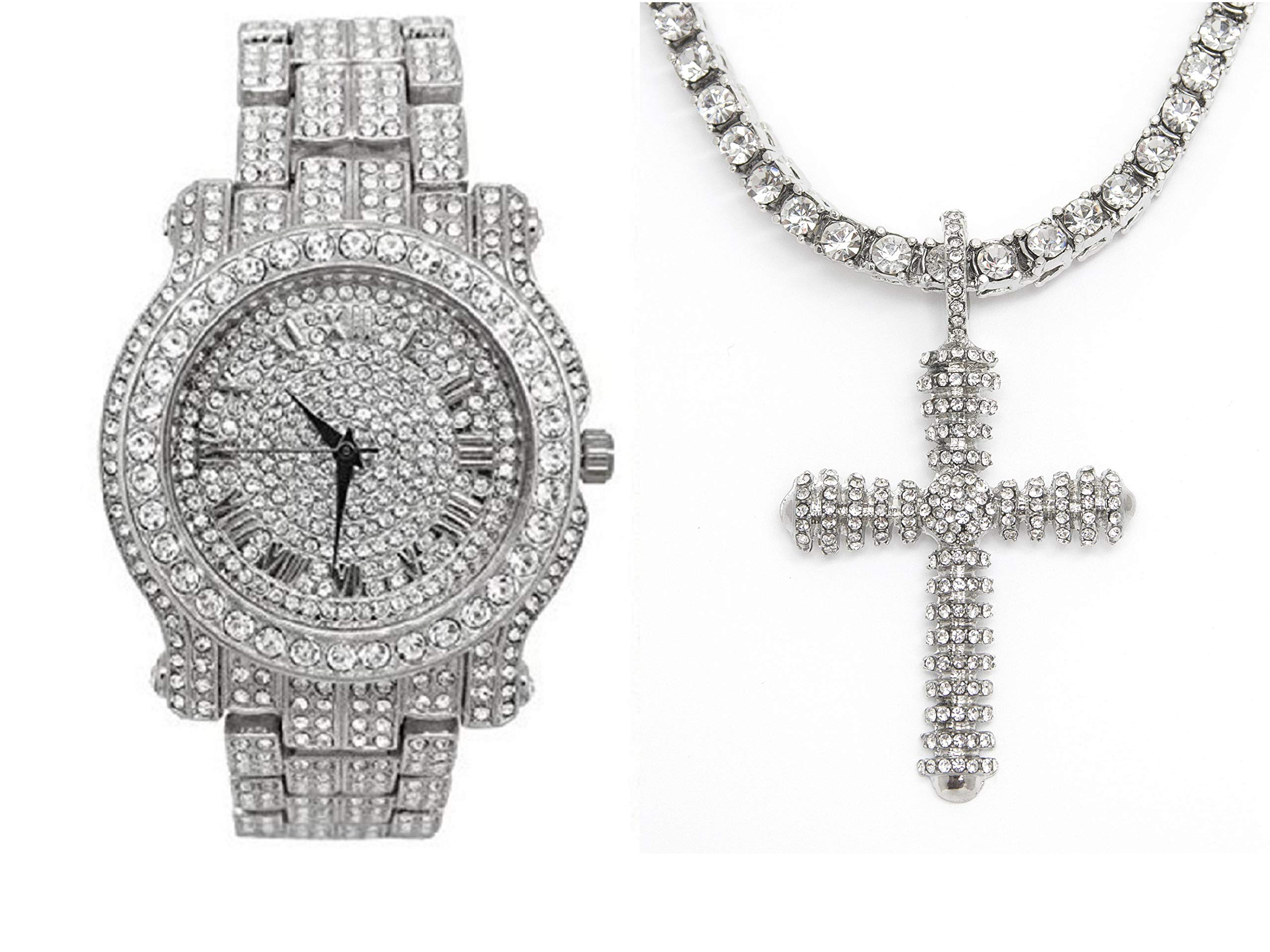 Bling-ed Out Royalty I AM King Mens Watch with Bling-ed Out Tennis Necklace and Iced Out Raised Up Cross Pendent - L0504SN Raised Up Cross Silver