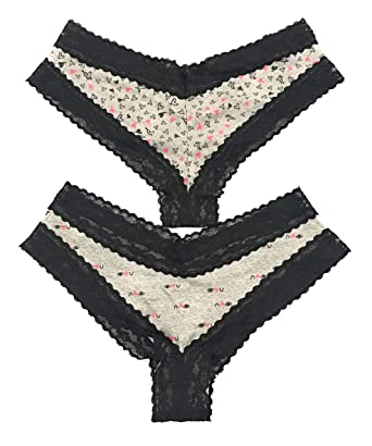 cc9a4063be39 Victoria's Secret Lace Trim Cheeky Panty Set of 2 Size Medium (Gray-Black)