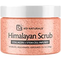 M3 Naturals Himalayan Salt Scrub Infused With Collagen And Stem Cell Natural Exfoliating Body And Face Souffle For Acne…