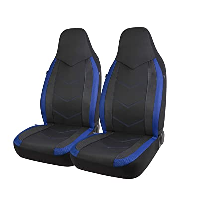 PIC AUTO High Back Car Seat Covers - Sports Carbon Fiber Mesh Design, Universal Fit, Airbag Compatible (Blue): Automotive