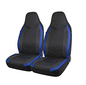 PIC AUTO High Back Car Seat Covers - Sports Carbon Fiber Mesh Design, Universal Fit, Airbag Compatible (Blue)