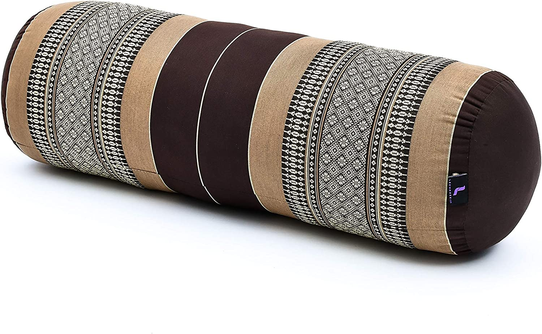Leewadee Bolster Yoga Lungo Grande Rotolo Pilates Cuscino Cervicale Prodotto Naturale Ecologico 65x25x25 cm Kapok