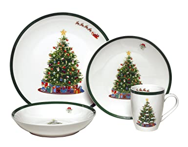 Melange Coupe 32-Piece Porcelain Dinnerware Set (Vintage Christmas Tree) | Service for  sc 1 st  Amazon.com & Amazon.com: Melange Coupe 32-Piece Porcelain Dinnerware Set (Vintage ...
