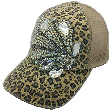 Cap Couture Women s Baseball Mesh Fancy Feather Leopard Hat at ... 820cc2ce572