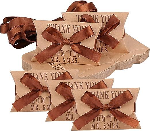 TsunNee Caja de papel kraft para caramelos, cajas de regalo de ...