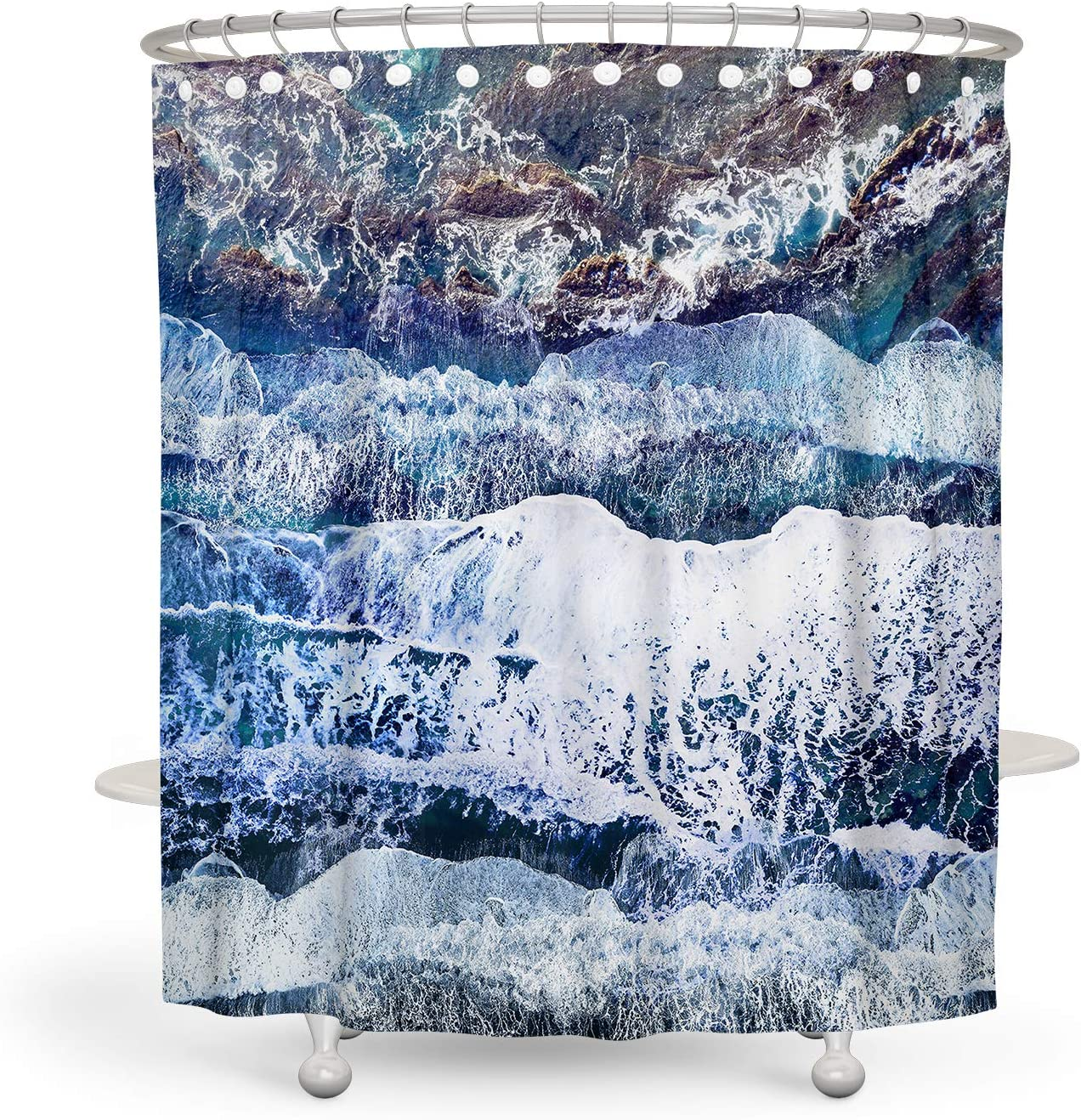Cherry Blossom Shower Curtain Blue Flower Shower Curtain Japanese Decor Cute Shower Curtain Polyester Waterproof Shower Curtain 72x72 Inch BARGHE Floral Shower Curtain