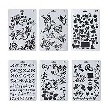 6 Pcs Wood Burning Stencils Pyrography Plastic Templates Set For