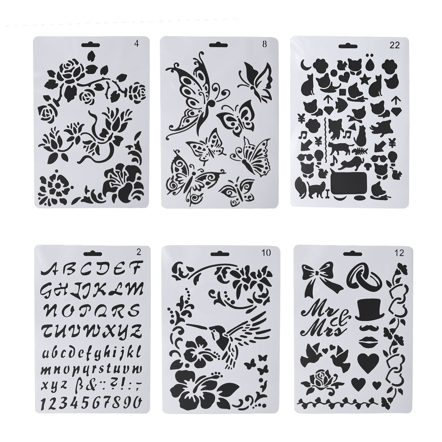 6 PCS Wood Burning Stencils, Pyrography Plastic Templates Set for Wood Burning/Carving with Letters Number Alphabet & Various Pattern + Carrying Bag