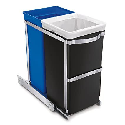 Simplehuman 35 Liter / 9.3 Gallon Under Counter Kitchen Pull Out Recycling  Trash Can,