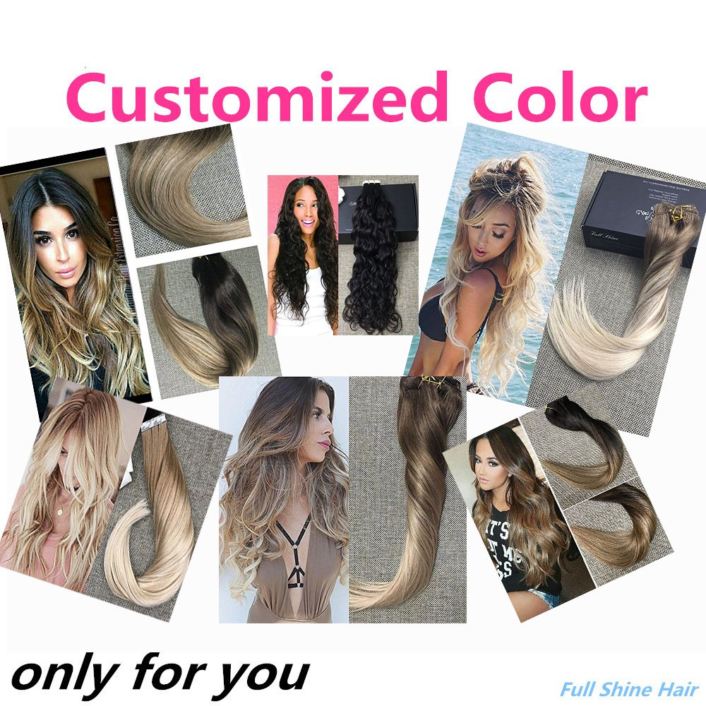 Outlet Fshine Customized Color Reverse Ombre Balayage Remy Human