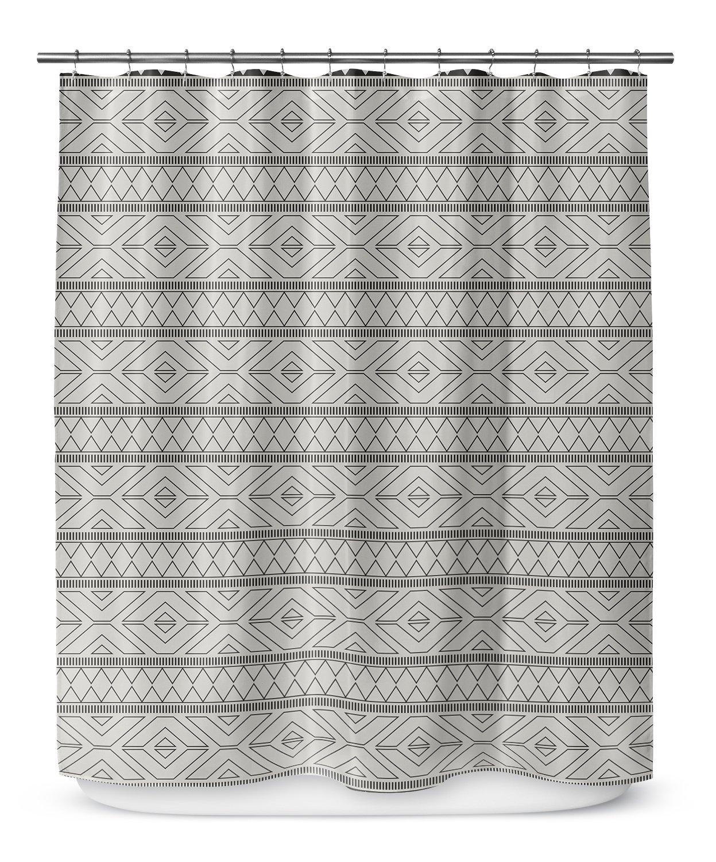 Size: 70x72 - - NAVAJO Collection Black//Grey MGTAVC2019SPLSC KAVKA Designs Marrakesh Grey Shower Curtain,