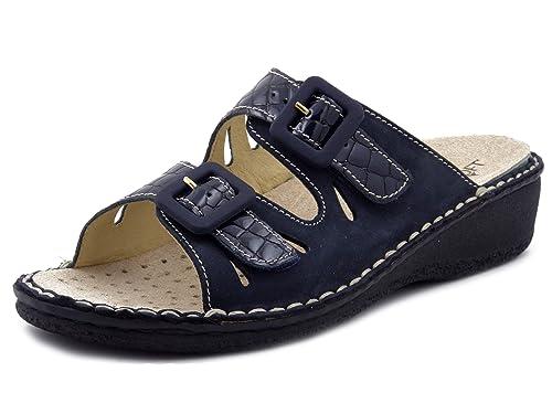 Cinzia Soft Sandalo Sanitario in Pelle Colore Blu 3a755960edb