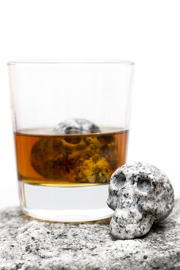 Hand-carved Set of 2 Beverage Chilling Granite Skull Whiskey Stones (Chilling Rocks) - in Gift Box by Whiskey Bones