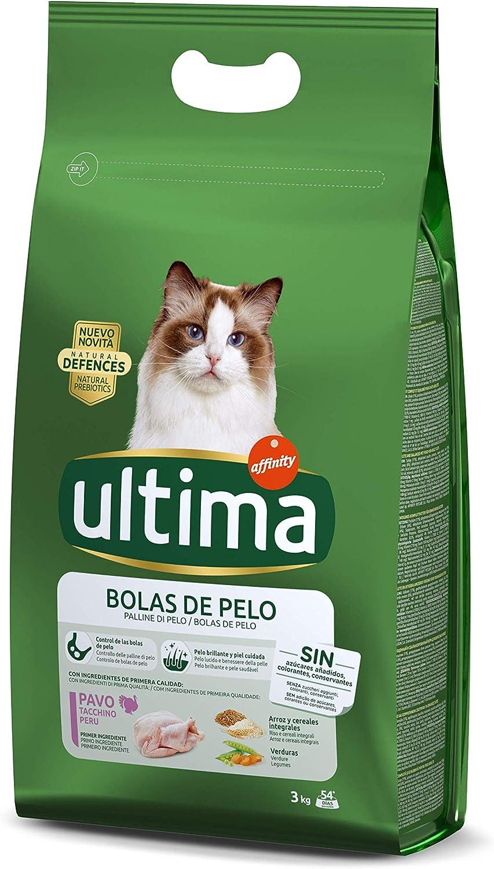 Ultima Pienso para gatos para prevenir bolas de pelo, con pavo - 3 kg