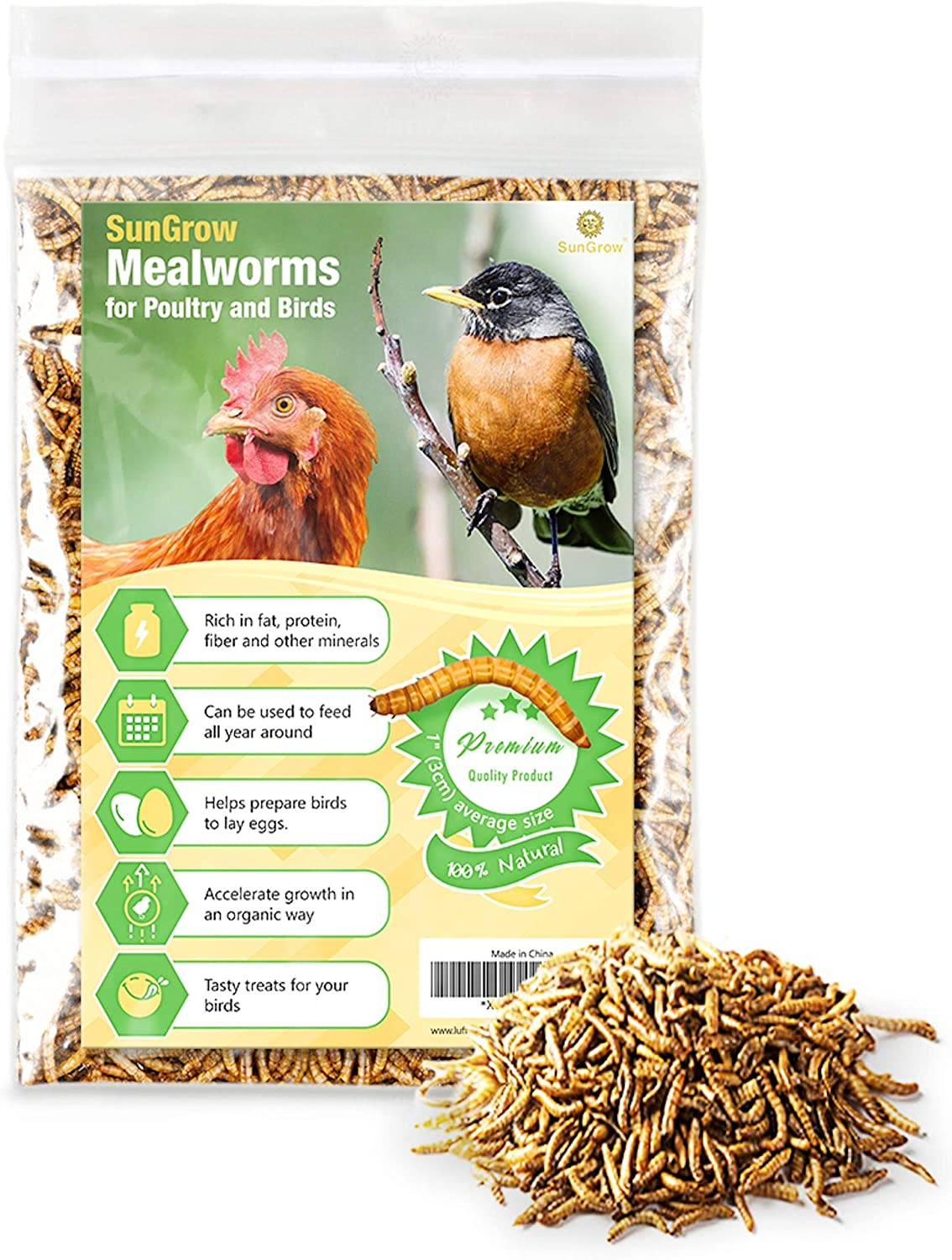 SunGrow High Protein Mealworms for Poultry and Wild Birds, Favorite Treat of Hedgehogs, Hamsters, and Other Pocket Pets, Nutritionally Packed for Squirrels and Frogs, Lizards, Snakes & Fish, 7 Oz